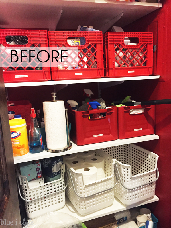 Red linen closet walls and red linen closet baskets