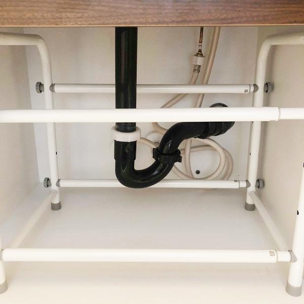 Adjustable under bathroom sink organizer