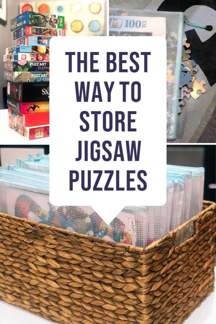 Transfer jigsaw puzzles from boxes to pouches that can be stored in a basket in much less space