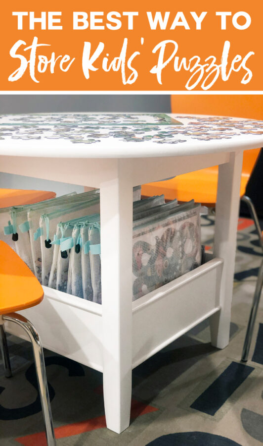 Kids Puzzles Stored in Pouches Under a Play Table