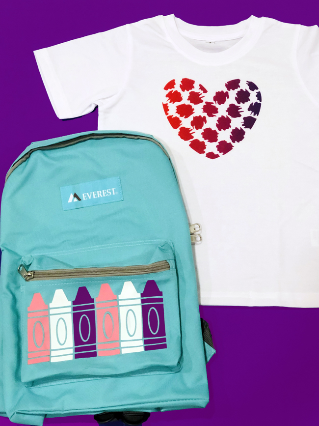 Cricut customized backpack and tshirt for preschool aged girl