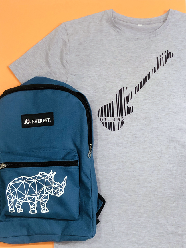 Cricut customized backpack and tshirt for teen aged boy