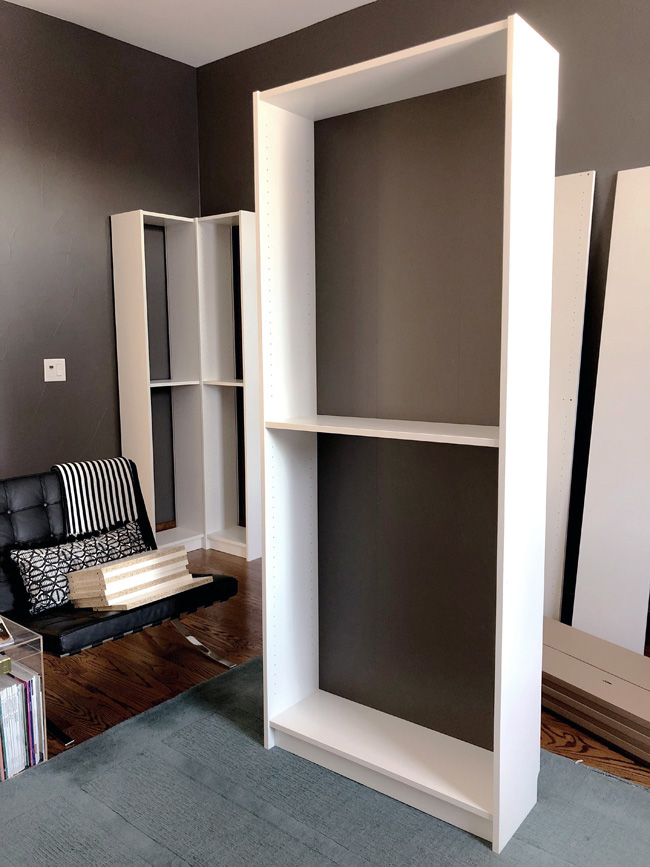 Dark back panels on Ikea Billy Bookcases