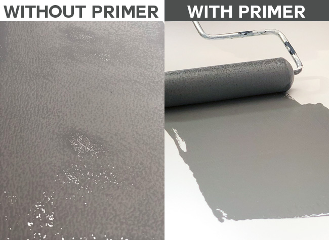 Side by side comparison painting laminate furniture without primer and with primer