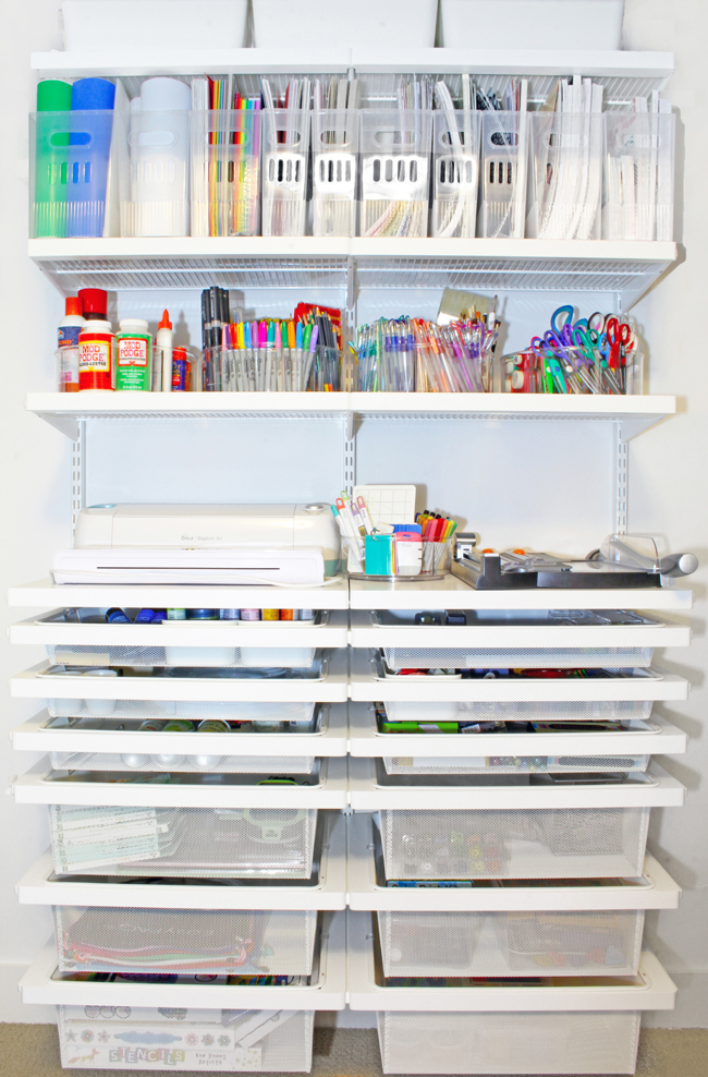 Craft closet Elfa System before adding labels