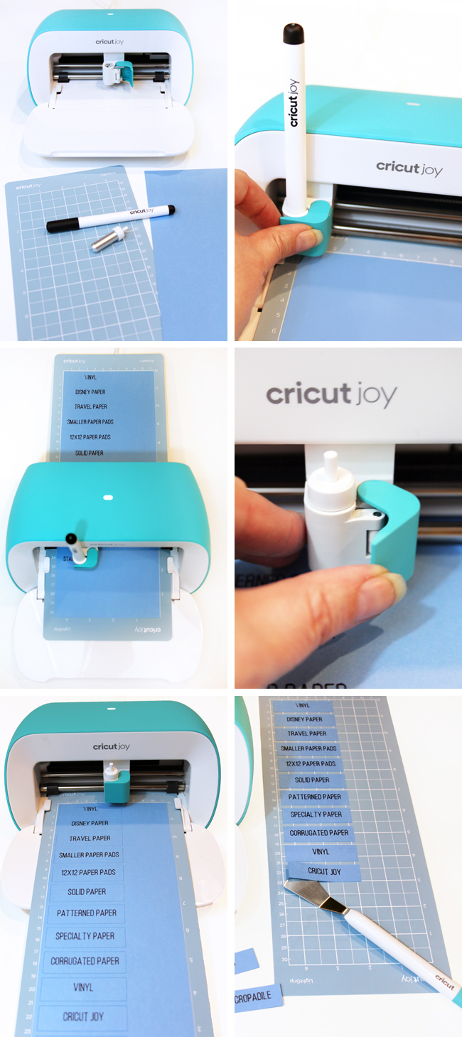 Step by step writing and cutting cardstock labels with Cricut Joy