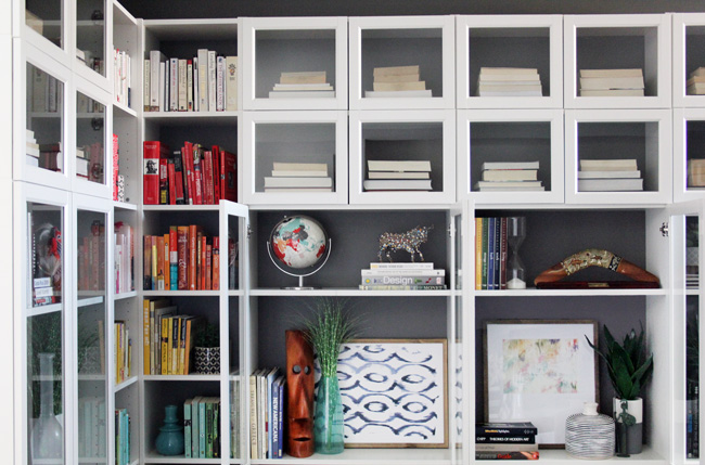 Ikea Billy Bookcase Hack with painted back panels