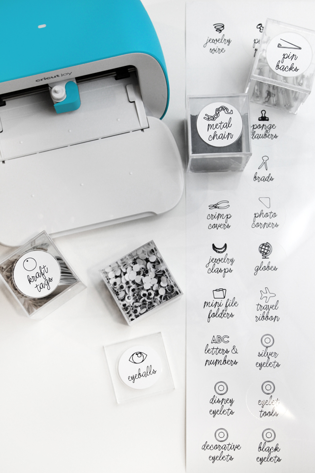 Sticker labels created with Smart Label using Cricut Joy