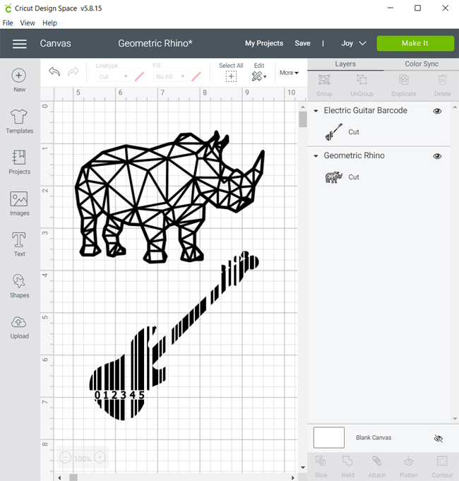 Rhino and Guitar designs in Cricut Design Space