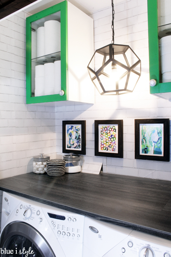 Laundry room with DIY wood countertop