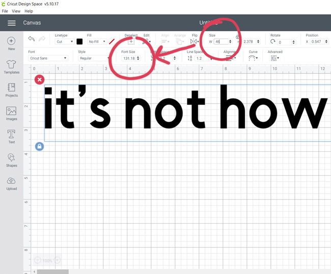 Adding text and changing size in Cricut Design Space
