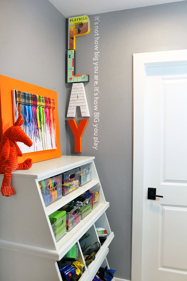Play room wall decor with giant PLAY letters and a quote about playing