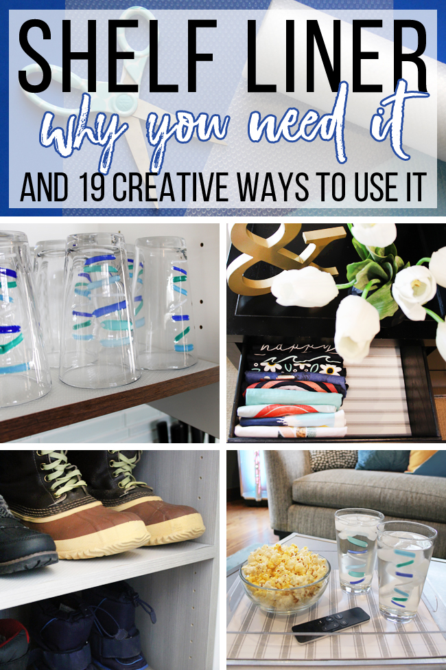 collage of creative ways to use shelf liner for cleaning, organizing and decor