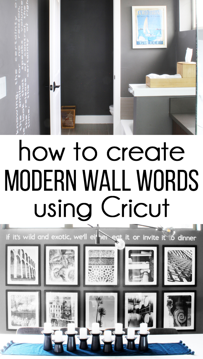 2 examples of modern white wall words on dark gray walls with text How to Create Modern Wall Words using Cricut