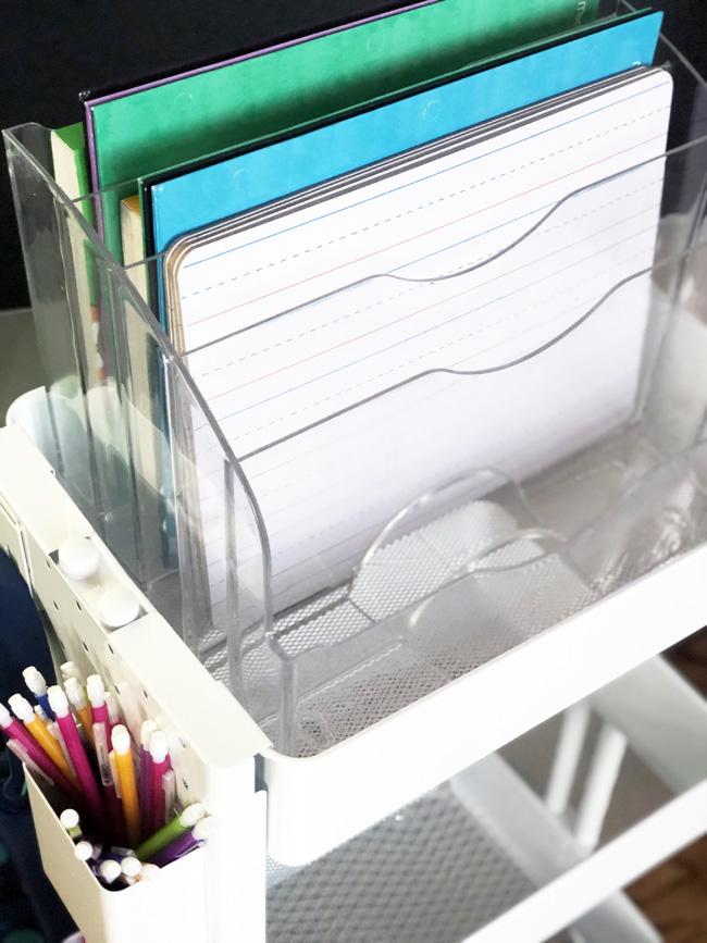 Primary ruled dry erase boards in file sorter