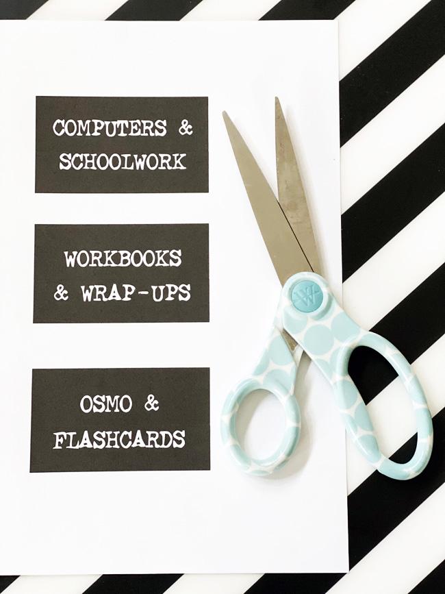 Homeschool cart labels with scissors