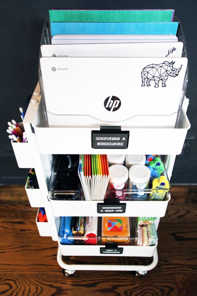 Storing chromebooks in file sorter on top of organized homeschool cart