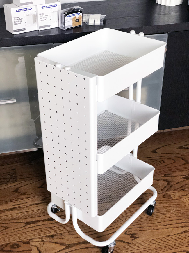 Adding a pegboard to a rolling cart
