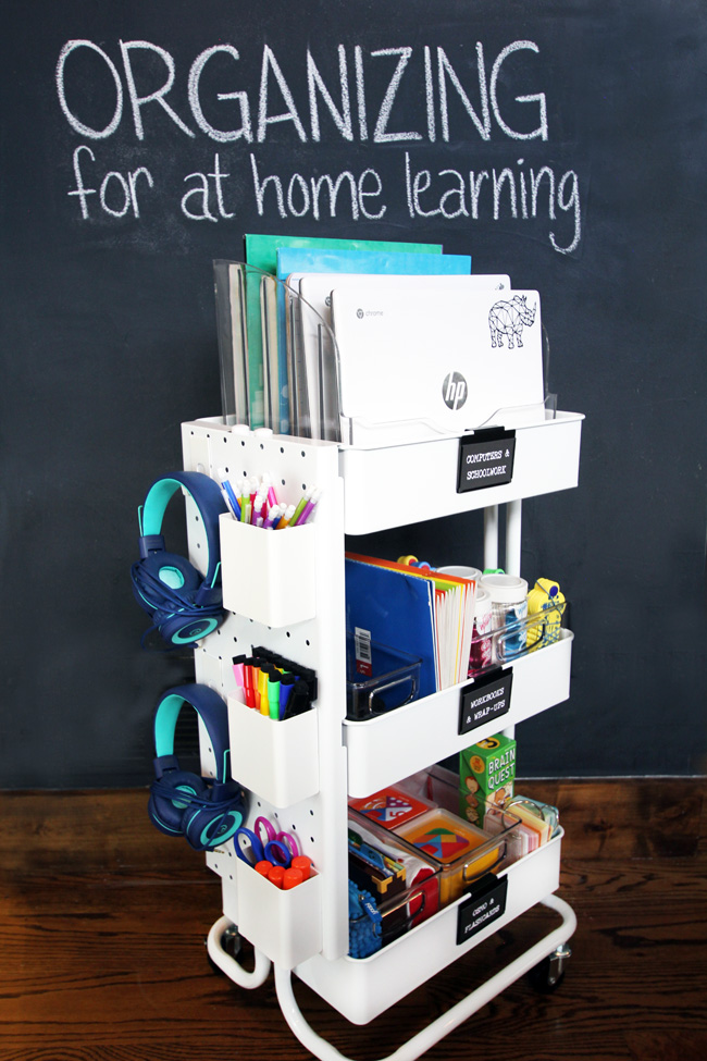 Organized Homeschool Cart for at home learning